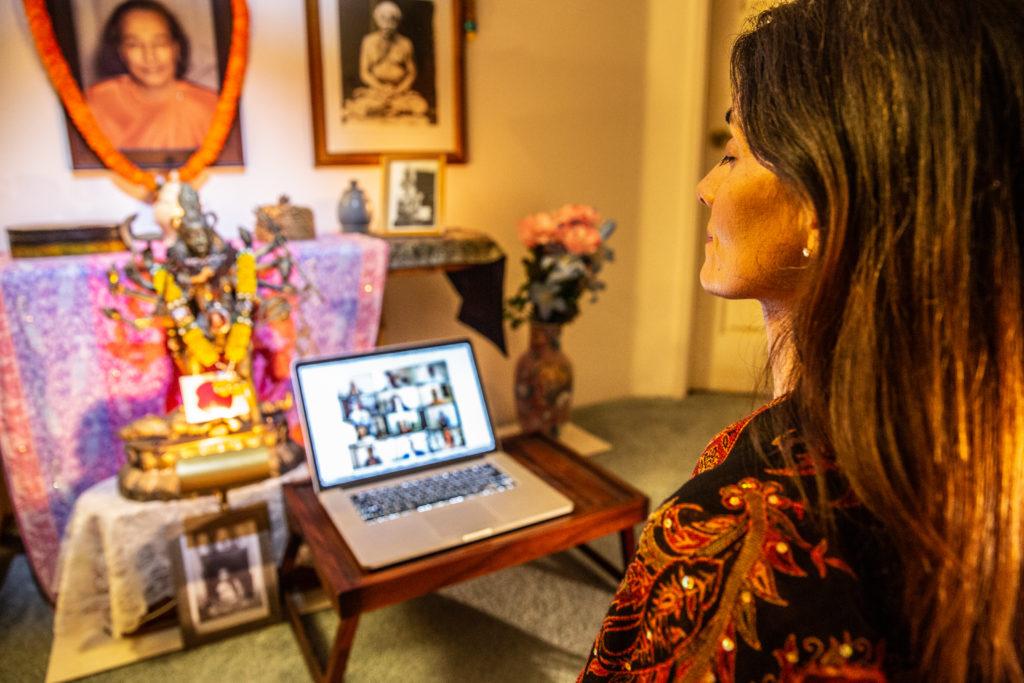 Devotee joins online meditation