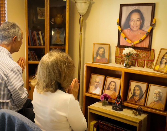 Devotees in front of altar